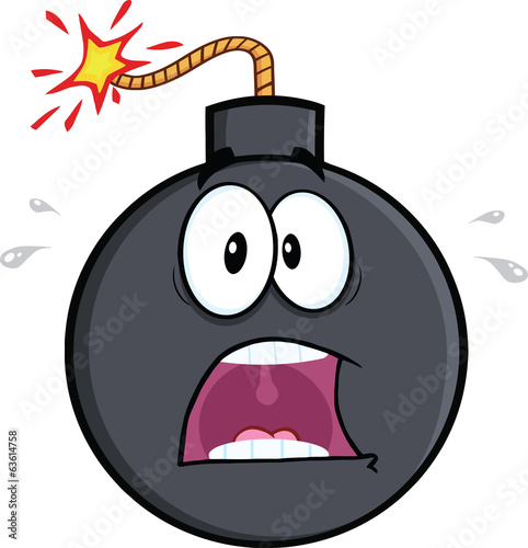 Scared Bomb Cartoon Character. Illustration Isolated on white