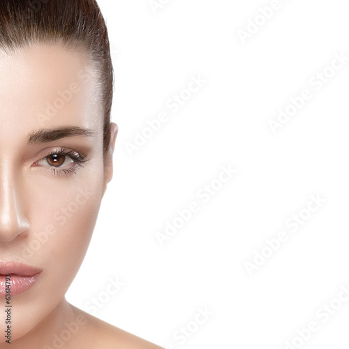 Beautiful woman half face. Skincare concept