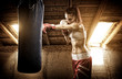 Young woman boxing workout on the attic - 63615158