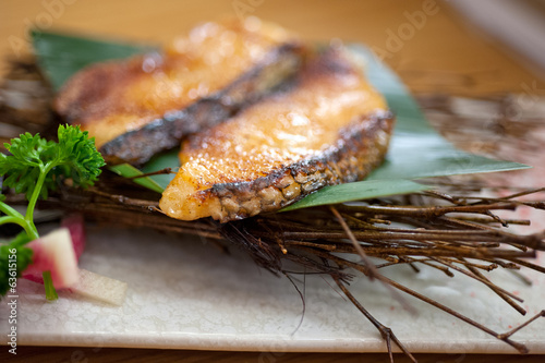 Japanese style teppanyaki roasted cod fish
