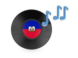 Vinyl disk with flag of haiti