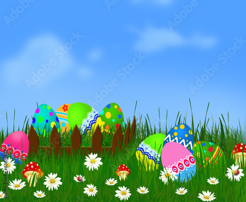Easter background with Easter eggs in basket.