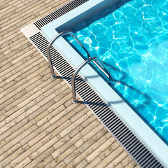Swimming pool with wooden deck