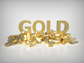 Gold as word front view