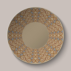 Circular pattern in the Greek style on the plate.