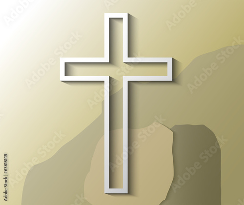 Illustration of Christian cross with empty grave
