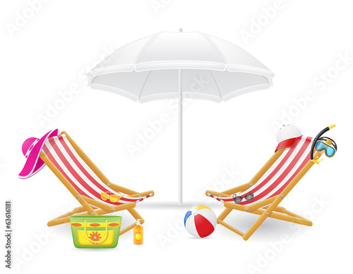 beach chair and parasol vector illustration