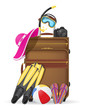 suitcase with beach accessories vector illustration