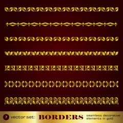 Borders seamless decorative elements in gold set 7
