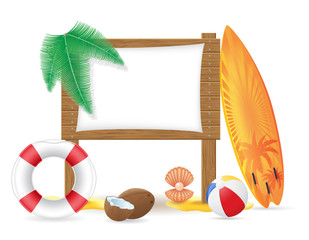 wooden board with beach icons vector illustration