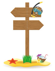 wooden pointer board and beach icons vector illustration