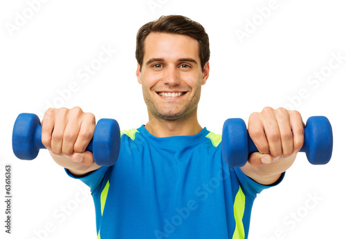 Happy Young Man Lifting Dumbbells