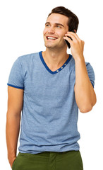 Happy Young Man Answering Smart Phone