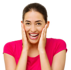 Surprised Woman Touching Cheeks While Laughing