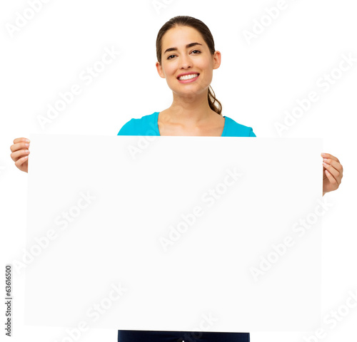 Woman Holding Blank Billboard Over White Background