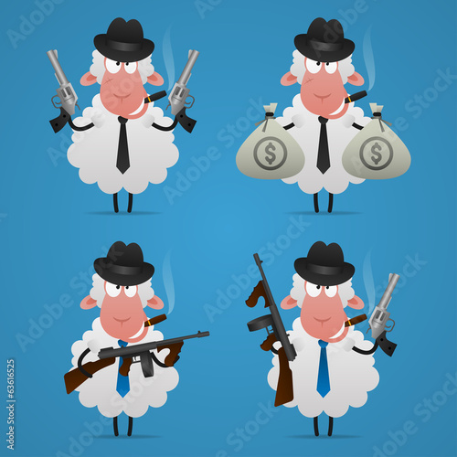 Set sheep gangster in different poses