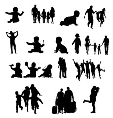 silhouette familly baby