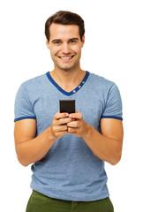 Man Text Messaging On Smart Phone