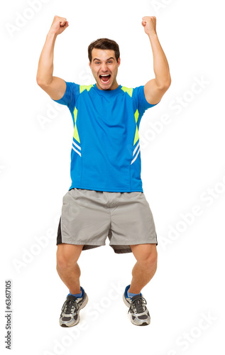 Excited Man Screaming With Arms Raised