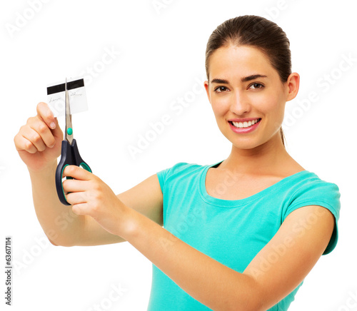 Beautiful Woman Cutting Credit Card