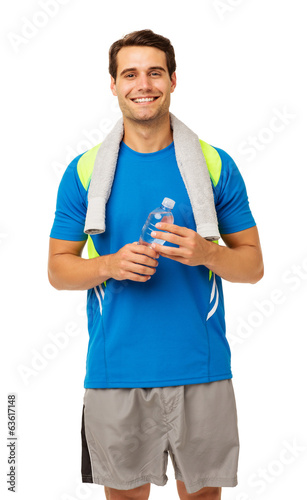 Smiling Man With Towel And Water Bottle