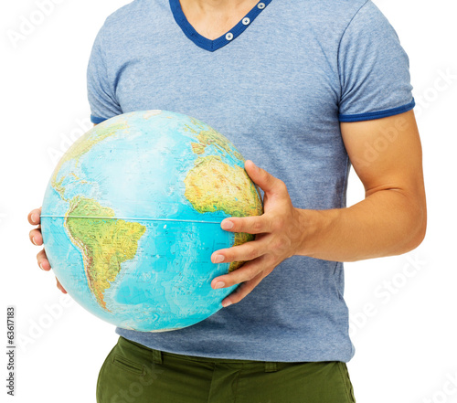 Man Holding Globe Over White Background