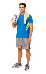Confident Man Drinking Water After Workout