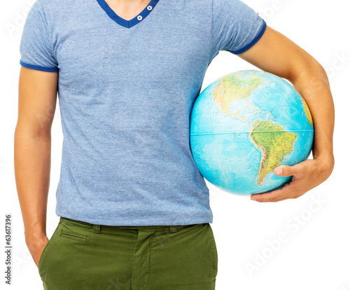 Midsection Of Man Holding Globe