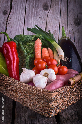 Fresh Organic Vegetable on wood