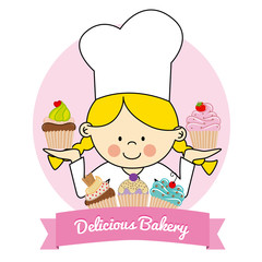 Illustration of Little. pastry girl