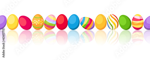 Seamless horizontal background with colorful Easter eggs. Vector