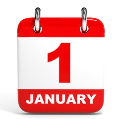 Calendar on white background. 1 January.