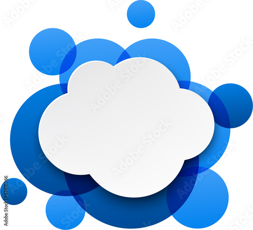 White paper cloud over blue bubbles.