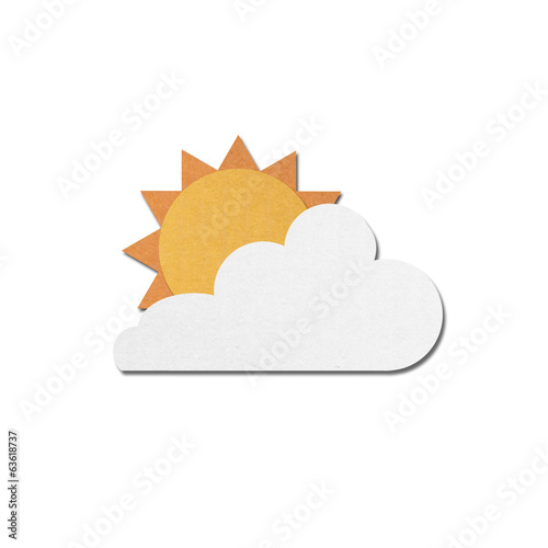 paper cut of sun with clouds on sky white