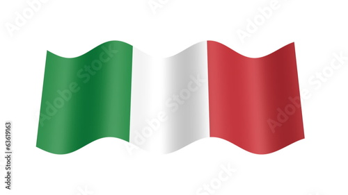 Italian flag wavy, 3d animation