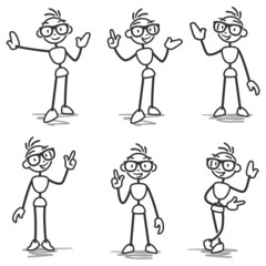 Stickman pointing showing presenting gestures