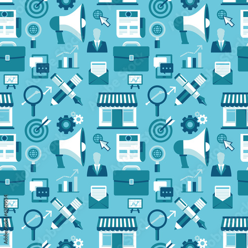 Vector seamless pattern with marketing icons