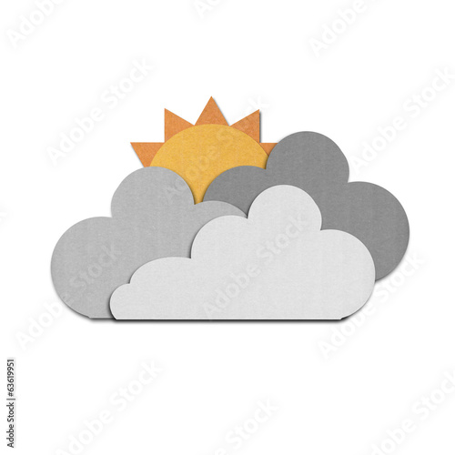 paper cut of sun and rain clouds on white sky