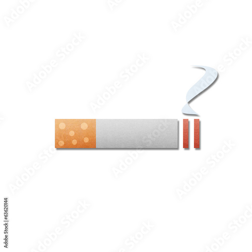 paper cut pattern of cigarette with smoke is isolated icon on wh