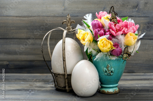 tulips, butterflies and vintage easter eggs