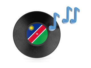 Vinyl disk with flag of namibia