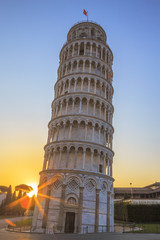 Pisa leaning tower at sunrise