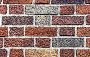 Weathered red brick wall, useful as background image