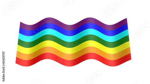 rainbow colors flag wavy, 3d animation loop