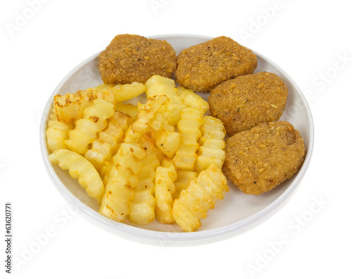 Chicken Nuggets With Fries Side View