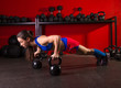 Kettlebells push-up woman strength gym workout