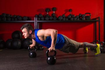 Kettlebells push-up man strength gym workout
