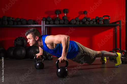 Kettlebells push-up man strength gym workout