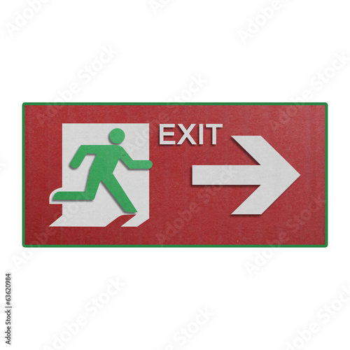 paper cut of red run to exit label for emergency with escape sig