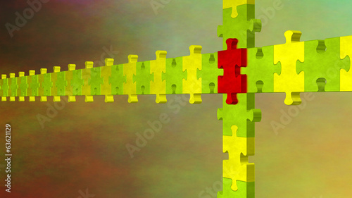 3d multicolor puzzle on weird cloudy background